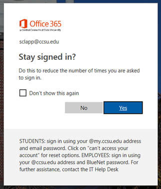 CentralSearch Login via Office 365, dialog to say logged in